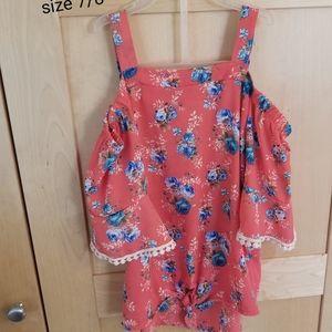 Girls Off Shoulder floral shirt